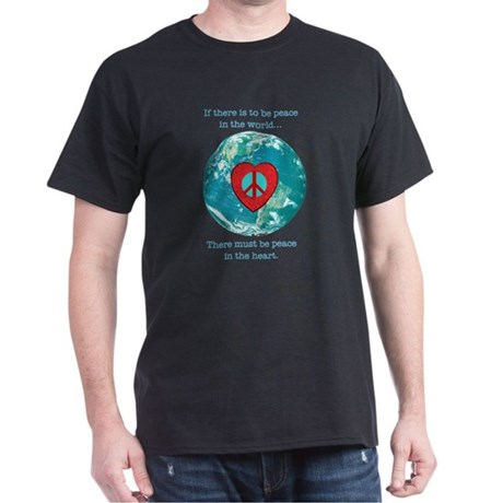 World Peace Heart Dark T-Shirt