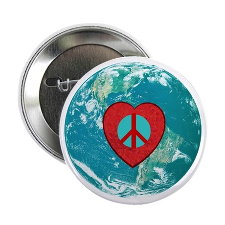 "World Peace Heart 2.25"" Button (100 pack)"