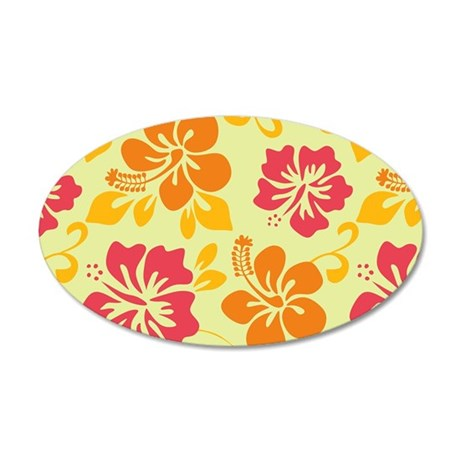 Light teal-orange-pink-yellow Hawaiian Hibiscus Wall Decal