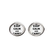 make personalized gifts keep calm and your text Oval Cufflinks