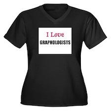 I Love GRAPHOLOGISTS Women's Plus Size V-Neck Dark