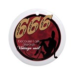666 Devilish Sign Female Ornament (Round)