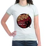 666 Devilish Sign Female Jr. Ringer T-Shirt
