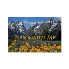 Grand Teton Mountains with Yellow Flowers Rectangl