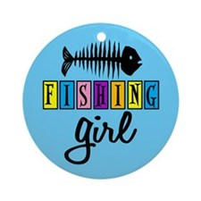 Fishing Girl Ornament (Round)