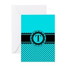 Turquoise Black Polka Dots Greeting Card