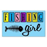 Fishing Girl Rectangle Decal