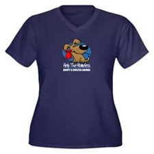 Homeless Pets Women's Plus Size V-Neck Dark T-Shir