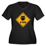 Eek! X-ing Women's Plus Size V-Neck Dark T-Shirt