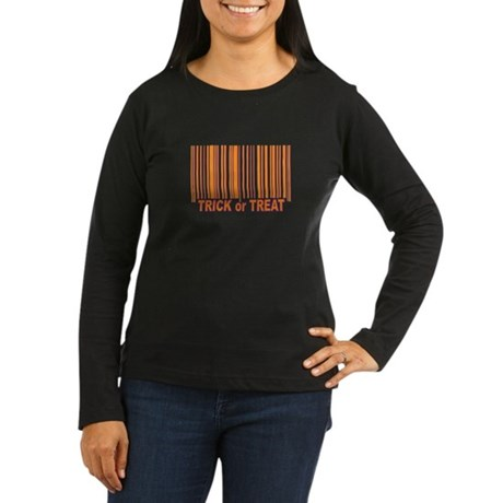 Barcode Trick or Treat Women's Long Sleeve Dark T-
