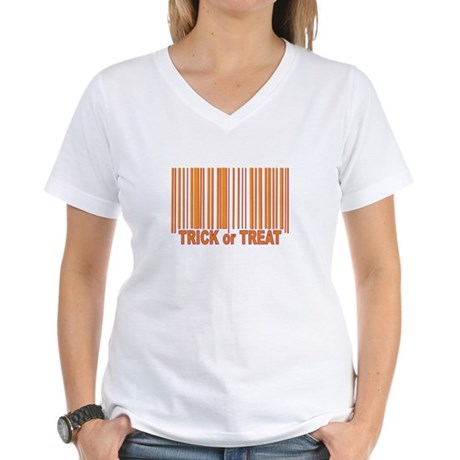 Barcode Trick or Treat Women's V-Neck T-Shirt
