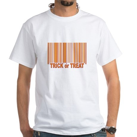 Barcode Trick or Treat White T-Shirt