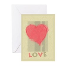Pink Heart Love Greeting Cards (Pk of 10)