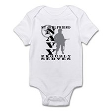 Girlfriend Proudly Serves - NAVY Infant Bodysuit