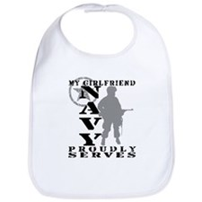 Girlfriend Proudly Serves - NAVY Bib