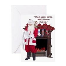 """Check again, Santa"" Greeting Card"