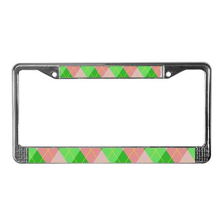 pink/green argyle License Plate Frame