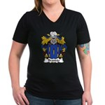 Brandao Family Crest Women's V-Neck Dark T-Shirt