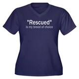 Rescued is My Breed Women's Plus Size V-Neck Dark