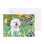 Irises and Bichon Greeting Card