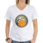 Happy Halloween Greetings (Front) Women's V-Neck T
