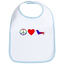 Peace, Love, Dachshund Bib