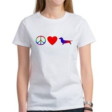 Peace, Love, Dachshund Tee