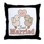 Just Married Bride Groom Wedding Throw Pillow