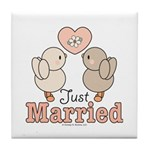 Just Married Bridal Wedding Keepsake Coaster