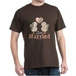 Just Married Bride Groom Newlywed Brown T-Shirt