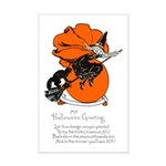 Halloween Black Cat & Witch Mini Poster Print