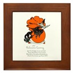 Halloween Black Cat & Witch Framed Tile
