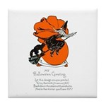 Halloween Black Cat & Witch Tile Coaster