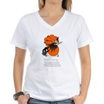 Halloween Black Cat & Witch (Front) Women's V-Neck