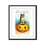 Halloween Owl & Pumpkin Framed Panel Print