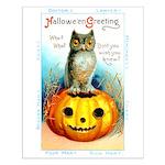 Halloween Owl & Pumpkin Small Poster