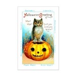 Halloween Owl & Pumpkin Mini Poster Print
