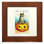 Halloween Owl & Pumpkin Framed Tile