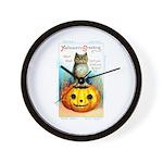 Halloween Owl & Pumpkin Wall Clock