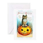Halloween Owl & Pumpkin Greeting Cards (Pk of 10)