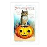 Halloween Owl & Pumpkin Postcards (Package of 8)