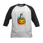 Halloween Owl & Pumpkin Kids Baseball Jersey