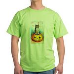 Halloween Owl & PUmpkin (Front) Green T-Shirt