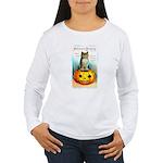 Halloween Owl & PUmpkin (Front) Women's Long Sleev