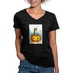 Halloween Owl & PUmpkin (Front) Women's V-Neck Dar