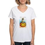 Halloween Owl & Pumpkin Women's V-Neck T-Shirt