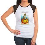 Halloween Owl & Pumpkin Women's Cap Sleeve T-Shirt
