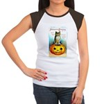 Halloween Owl & PUmpkin (Front) Women's Cap Sleeve