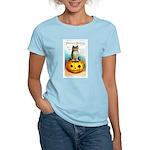 Halloween Owl & PUmpkin (Front) Women's Light T-Sh