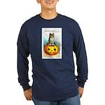 Halloween Owl & PUmpkin (Front) Long Sleeve Dark T